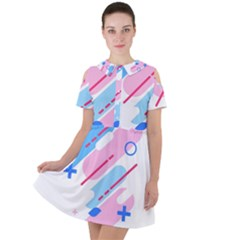 Abstract Geometric Pattern  Short Sleeve Shoulder Cut Out Dress