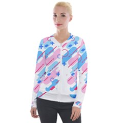 Abstract Geometric Pattern  Velvet Zip Up Jacket by brightlightarts
