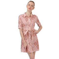 Pattern Floral Design Peach Belted Shirt Dress by brightlightarts
