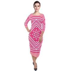 Mandala Pattern Dresses Design Quarter Sleeve Midi Velour Bodycon Dress