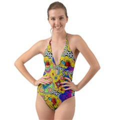 Supersonicplanet2020 Halter Cut-out One Piece Swimsuit by chellerayartisans