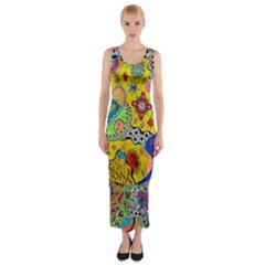 Supersonicplanet2020 Fitted Maxi Dress by chellerayartisans