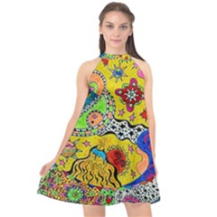 Supersonicplanet2020 Halter Neckline Chiffon Dress  by chellerayartisans