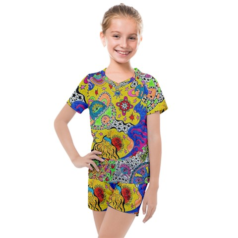 Supersonicplanet2020 Kids  Mesh Tee And Shorts Set by chellerayartisans