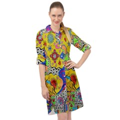 Supersonicplanet2020 Long Sleeve Mini Shirt Dress by chellerayartisans
