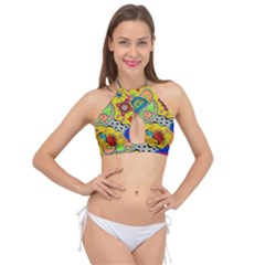 Supersonicplanet2020 Cross Front Halter Bikini Top by chellerayartisans