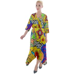 Supersonicplanet2020 Quarter Sleeve Wrap Front Maxi Dress by chellerayartisans