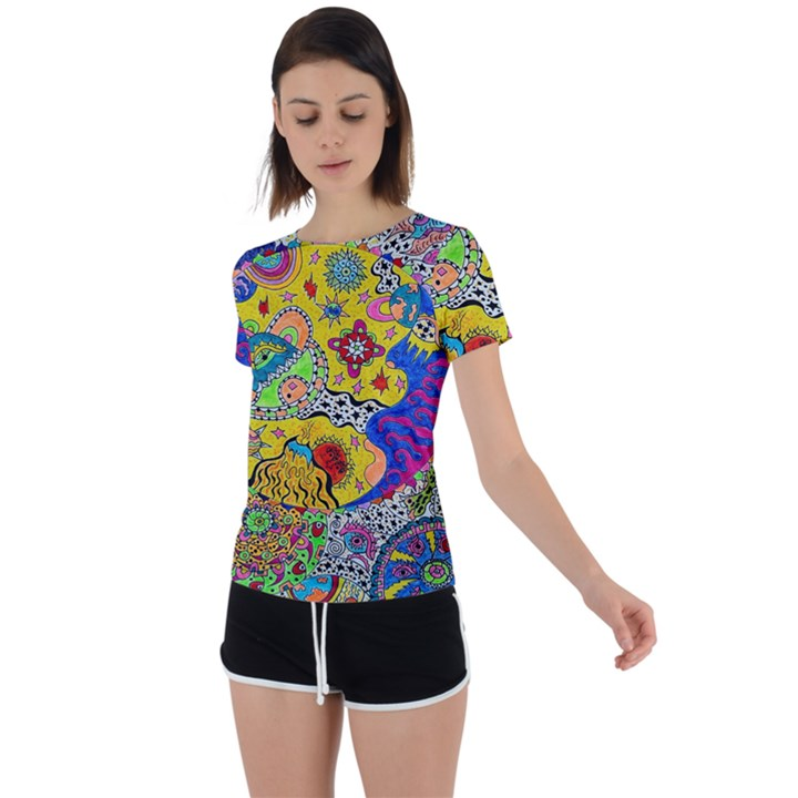Supersonicplanet2020 Back Circle Cutout Sports Tee
