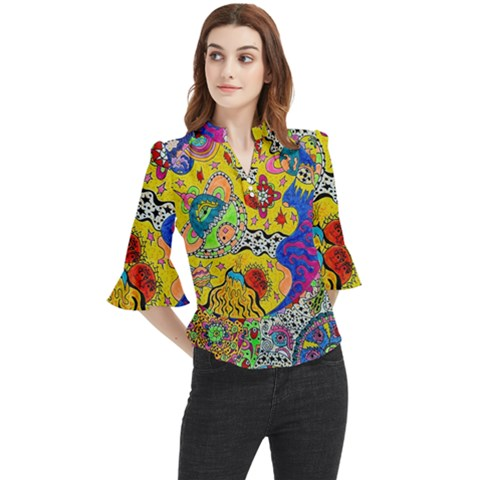 Supersonicplanet2020 Loose Horn Sleeve Chiffon Blouse by chellerayartisans