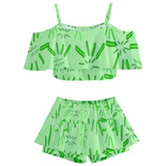 Electric Lime Kids  Off Shoulder Skirt Bikini by Janetaudreywilson