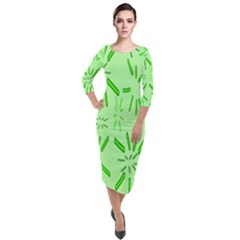 Electric Lime Quarter Sleeve Midi Velour Bodycon Dress