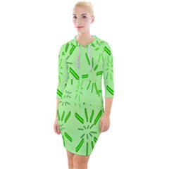 Electric Lime Quarter Sleeve Hood Bodycon Dress