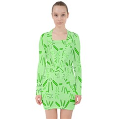 Electric Lime V-neck Bodycon Long Sleeve Dress
