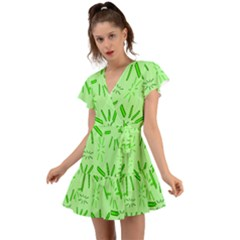 Electric Lime Flutter Sleeve Wrap Dress