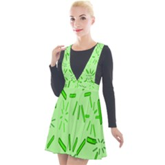 Electric Lime Plunge Pinafore Velour Dress
