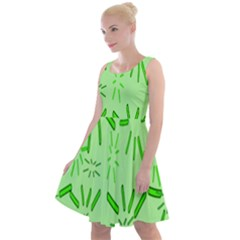 Electric Lime Knee Length Skater Dress