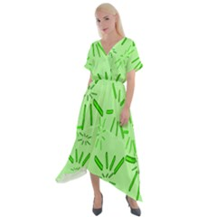 Electric Lime Cross Front Sharkbite Hem Maxi Dress