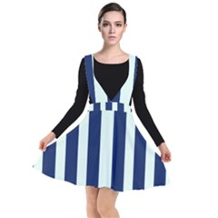 Navy In Vertical Stripes Plunge Pinafore Dress