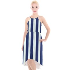Navy In Vertical Stripes High-low Halter Chiffon Dress