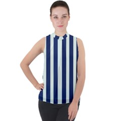 Navy In Vertical Stripes Mock Neck Chiffon Sleeveless Top