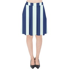 Navy In Vertical Stripes Velvet High Waist Skirt