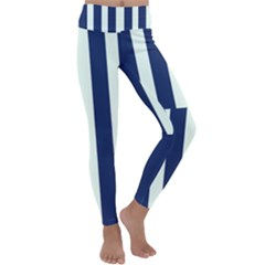 Navy In Vertical Stripes Kids  Lightweight Velour Classic Yoga Leggings