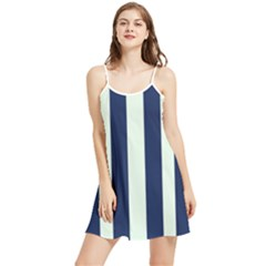 Navy In Vertical Stripes Summer Frill Dress