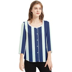 Navy In Vertical Stripes Chiffon Quarter Sleeve Blouse