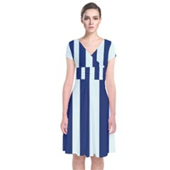 Navy In Vertical Stripes Short Sleeve Front Wrap Dress