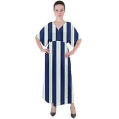 Navy In Vertical Stripes V-neck Boho Style Maxi Dress