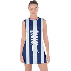 Navy In Vertical Stripes Lace Up Front Bodycon Dress