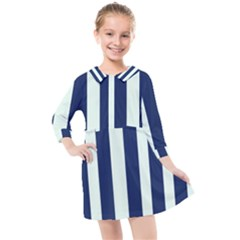 Navy In Vertical Stripes Kids  Quarter Sleeve Shirt Dress