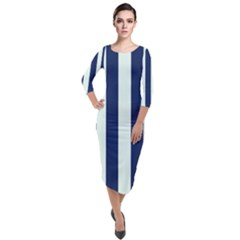 Navy In Vertical Stripes Quarter Sleeve Midi Velour Bodycon Dress