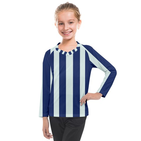 Navy In Vertical Stripes Kids  Long Mesh Tee by Janetaudreywilson