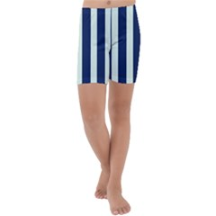 Navy In Vertical Stripes Kids  Lightweight Velour Capri Yoga Leggings