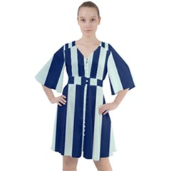 Navy In Vertical Stripes Boho Button Up Dress