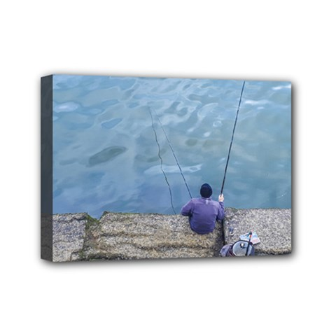 Senior Man Fishing At River, Montevideo, Uruguay001 Mini Canvas 7  X 5  (stretched) by dflcprintsclothing
