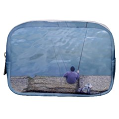 Senior Man Fishing At River, Montevideo, Uruguay001 Make Up Pouch (small) by dflcprintsclothing