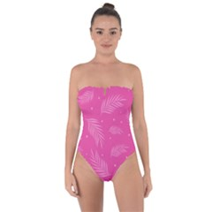 Abstract Summer Pink Pattern Tie Back One Piece Swimsuit