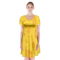Abstract Yellow Floral Pattern Short Sleeve V-neck Flare Dress