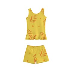 Abstract Yellow Floral Pattern Kids  Boyleg Swimsuit