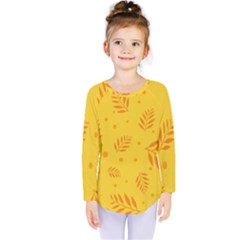 Abstract Yellow Floral Pattern Kids  Long Sleeve Tee