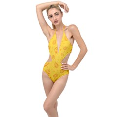 Abstract Yellow Floral Pattern Plunging Cut Out Swimsuit