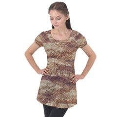 Grunge Surface Print Puff Sleeve Tunic Top