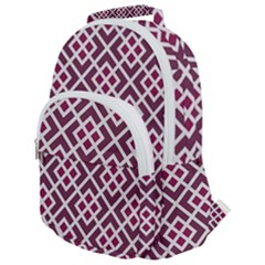 Two Tone Lattice Pattern Purple Rounded Multi Pocket Backpack