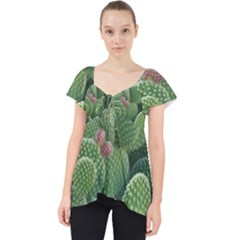 Green Cactus Lace Front Dolly Top
