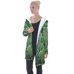 Green Cactus Longline Hooded Cardigan