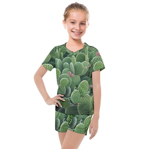 Green Cactus Kids  Mesh Tee And Shorts Set by Sparkle