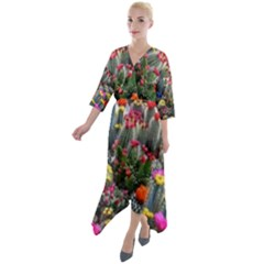 Cactus Quarter Sleeve Wrap Front Maxi Dress