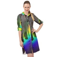 Rainbowcat Long Sleeve Mini Shirt Dress by Sparkle